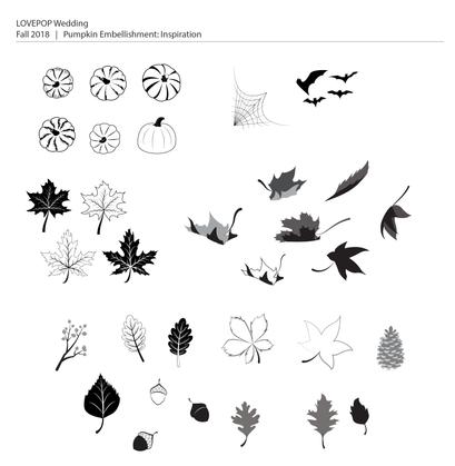 Fall Leaves Embellisments: Illustrator Sketches