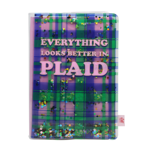 Plaid Glitter Journal