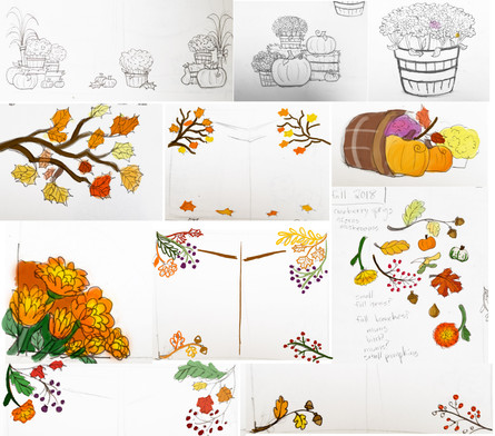 Fall Leaves Embellisments: Initial Sketches