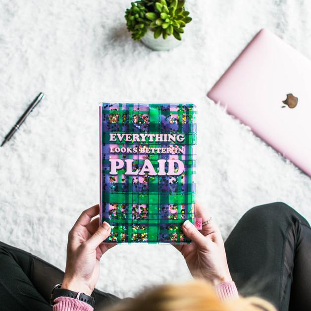 Plaid Glitter Journal