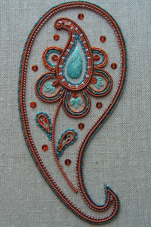 Decorative Copper Paisley Embroidery Kit
