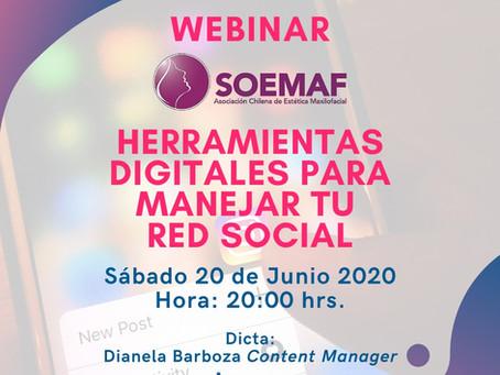 """WEBINAR 20/06/2020: """"HERRAMIENTAS DIGITALES PARA MANEJAR TUS REDES SOCIALES"""""""