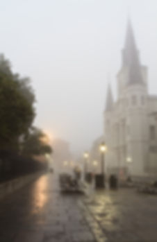 Early morning fog on Jackson square obsc