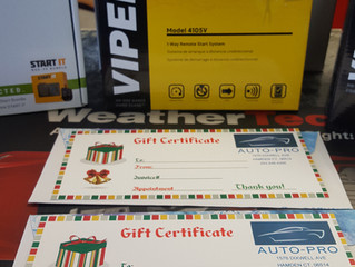 HAPPY Thanks giving ! Auto-Pro has Holliday gift certificates available! The remote start gift certs