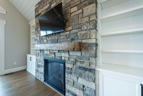 Fireplace with built in cabinetry