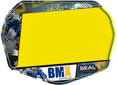 BMX Australia Grey Ready 2 Race plate with Velcro