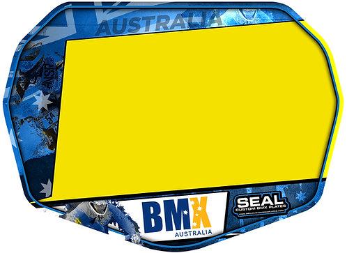 BMX Australia Blue Ready 2 Race plate with Velcro