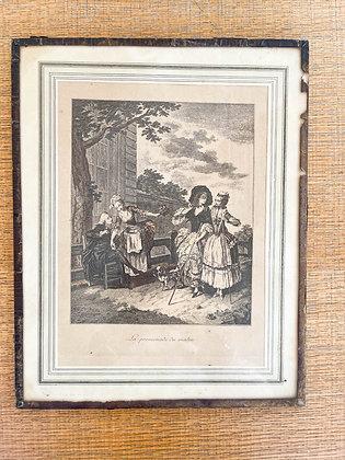 Duo de gravures anciennes GALERIE DES TUILERIES
