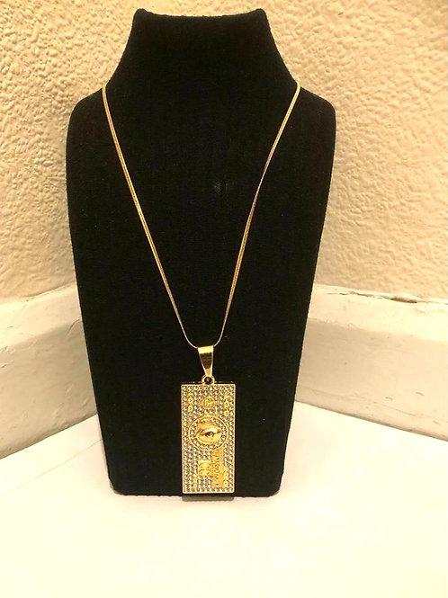 Stainless Steel Iced 100 dollar bill Pendant Necklace Artist jewellery