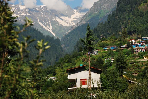 View of snow peaked mountain from Old Manali