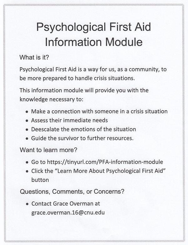 Psychological First Aid Information Modu