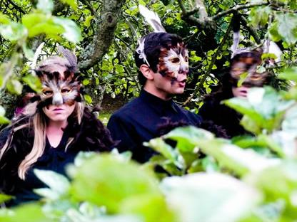 Three owls (Katie Salt, Dennis Maher and Gemma Whiteley) from 'Stories In A Secret Garden'