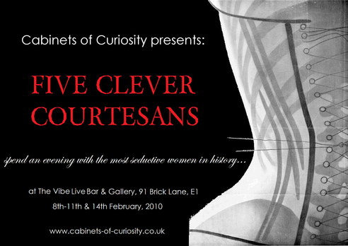 'Five Clever Courtesans' original postcard flyer