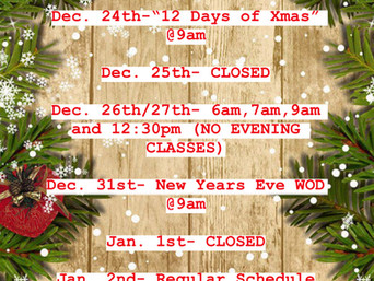 UPDATED HOLIDAY SCHEDULE
