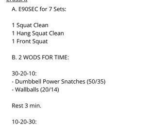 CLEANS AND A GOOD WOD