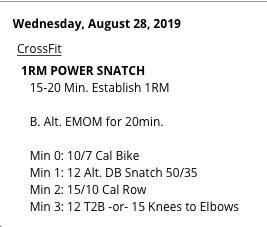 1RM DAY FOR THE POWER SNATCH