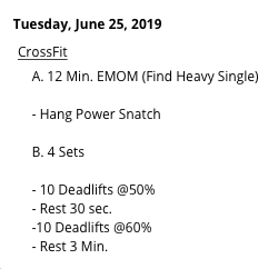 HEAVY HANG POWER SNATCH