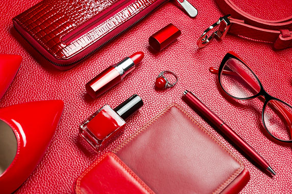 Woman red accessories, jewelry, cosmetic