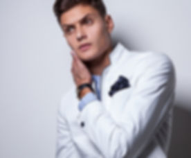 Male model in white jacket
