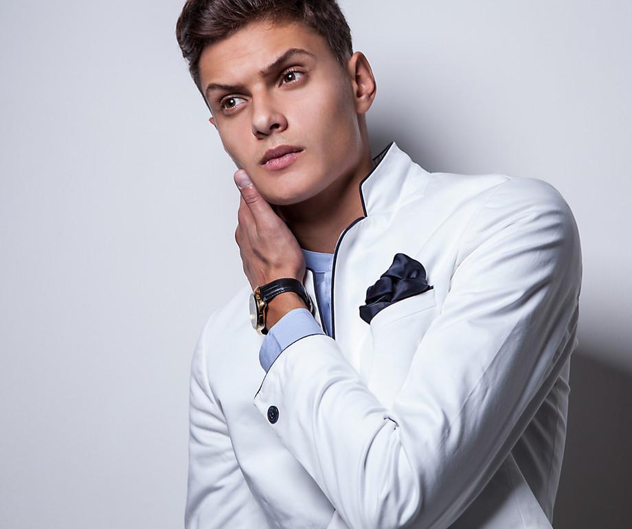 Male model in white jacket