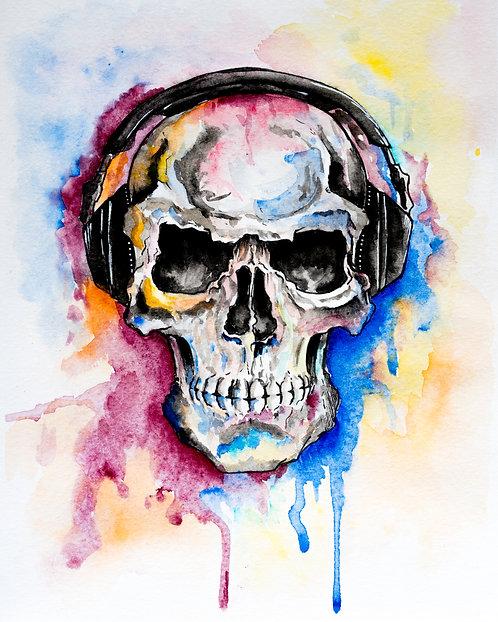 Watercolor skull with headphones print