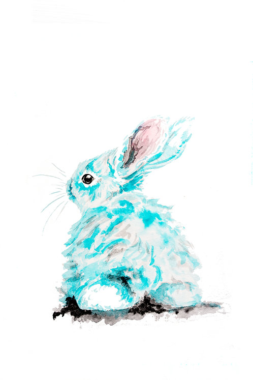Blue bunny bum Print