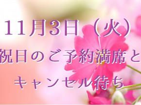 11月3日(火・文化の日)のご予約満席とキャンセル待ちについて(五反田 鍼灸院)