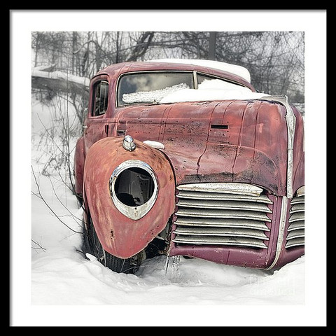 Old Hudson Sedan in the Snow