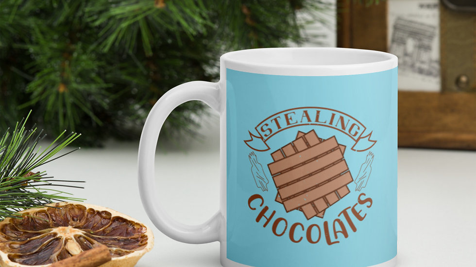 Blue Glossy Mug | Stealing Chocolates