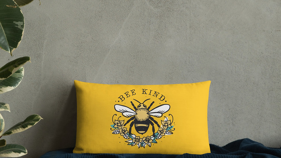 Premium Pillow | Bee Kind | Flower