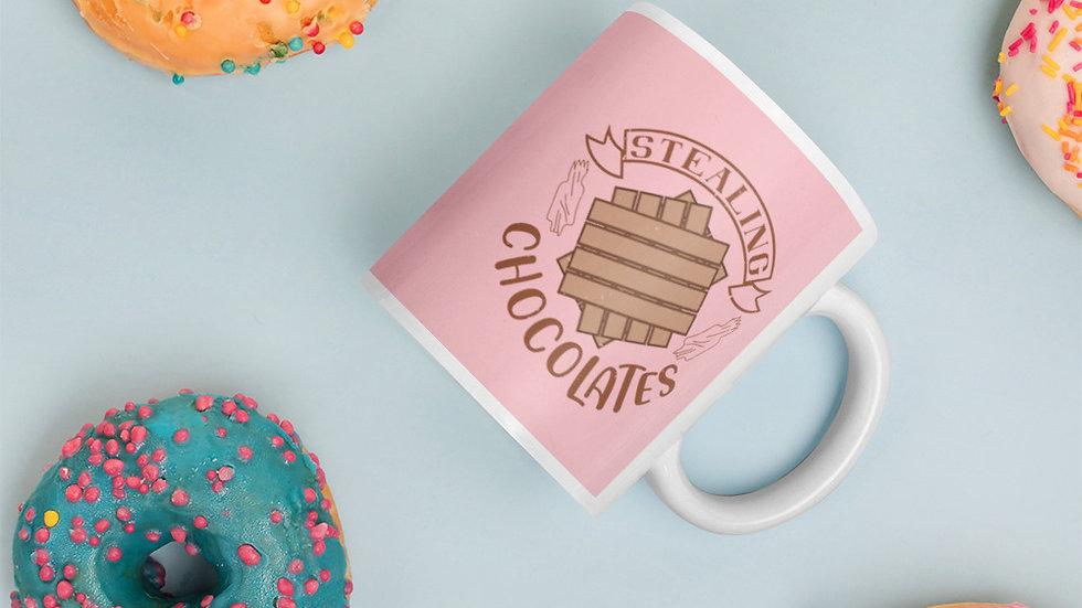 Pink | Glossy Mug | Stealing Chocolates