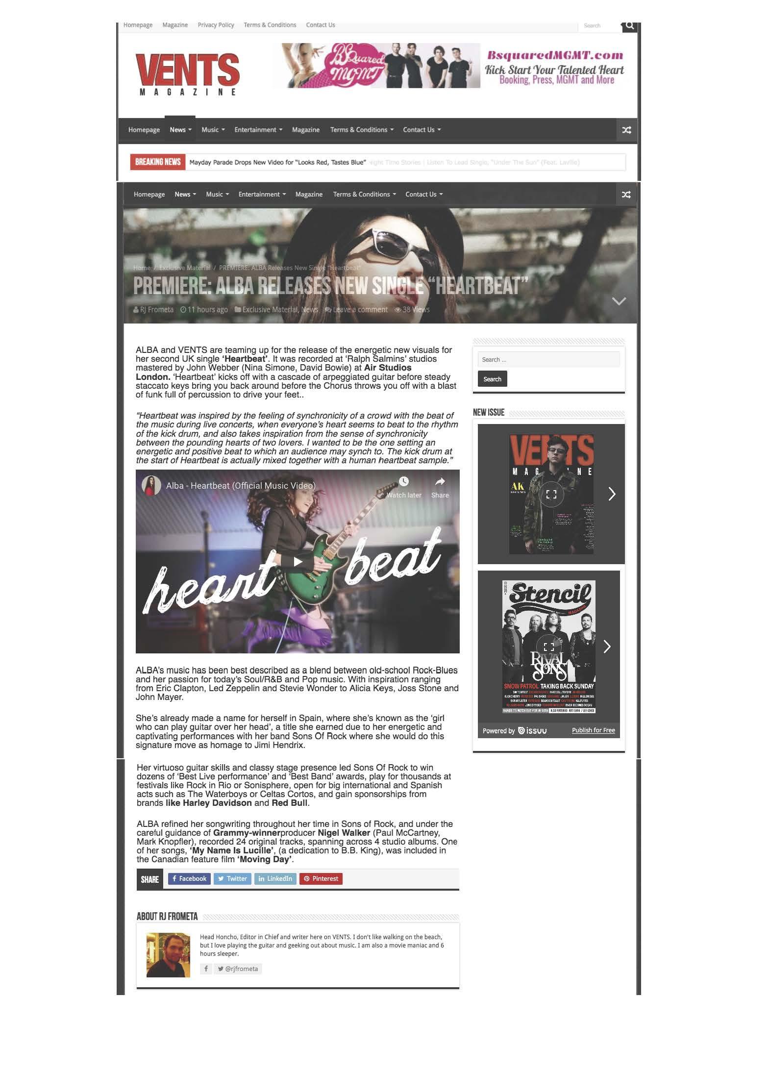Vents Magazine Heartbeat Premiere - Alba