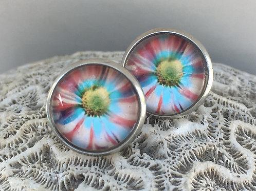 Flower photo earrings
