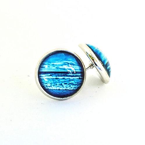 Ocean Calling: Wave Photo Post Earrings