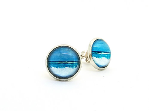 Azure Bliss: Wave Photo Post Earrings