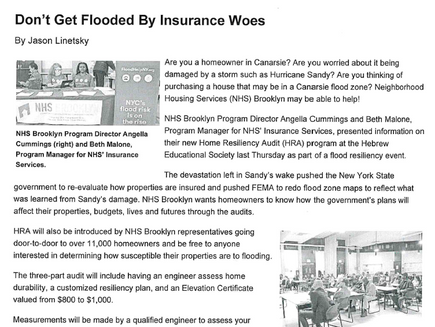 Don't Get Flooded By Insurance Woes (from 'Canarsie Courier')