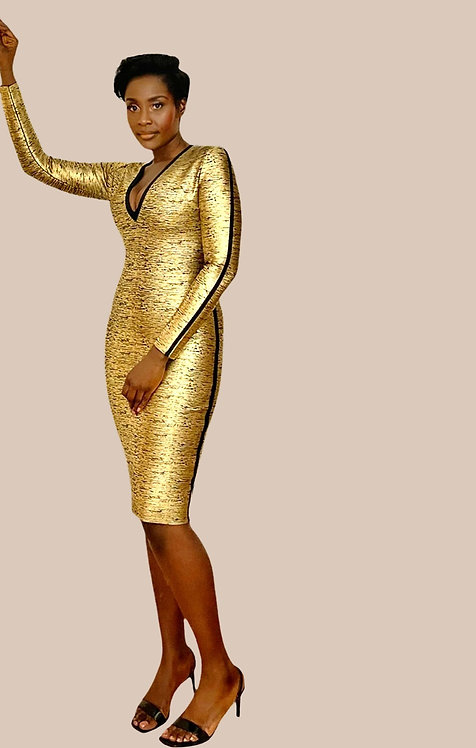 Gold V Neck Bandage Dress