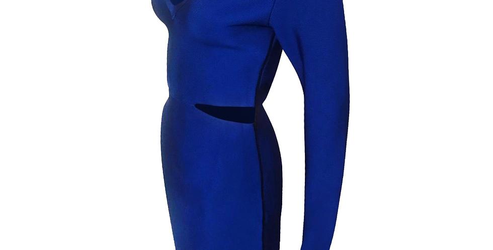 Cut Out Blue V Neck Midi Premium Bandage side stripe dress