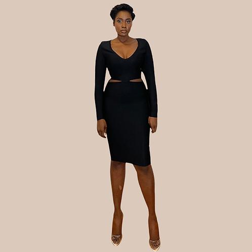 Black Cut Out Midi Bandage Dress