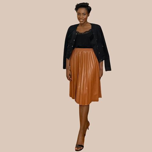 Tan PU Leather Pleated Skirt