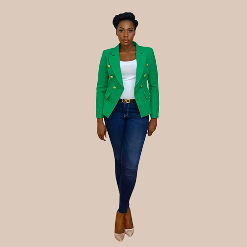 Green Textured Double Breasted Blazer