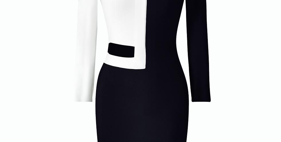 Cut Out Black/White Premium Bandage Midi dress