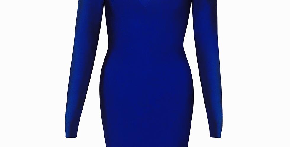 Royal Blue V neck Midi Premium Bandage dress