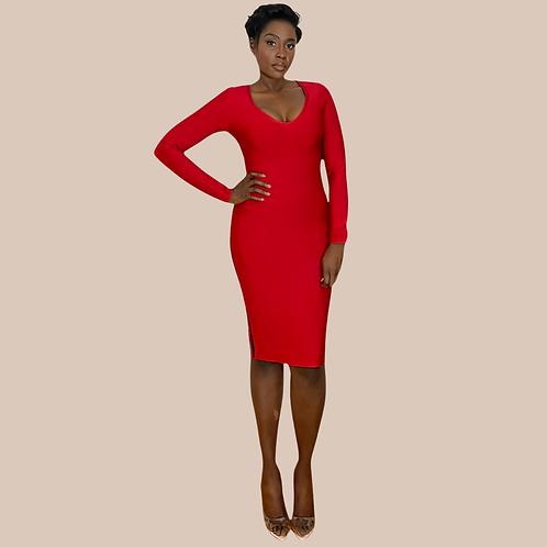 Red V Neck Midi Bandage Dress