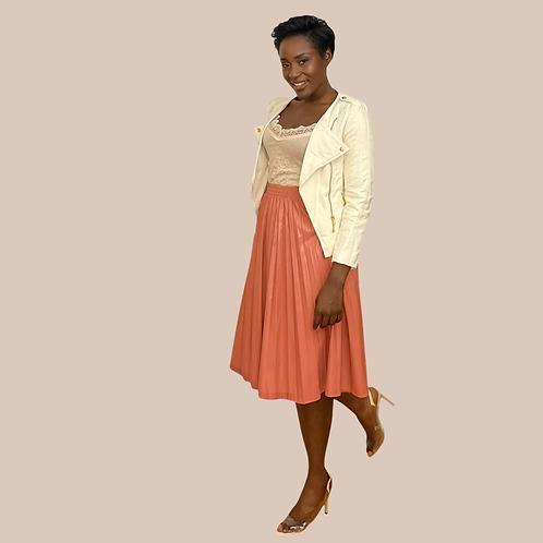 Blush Pink PU Leather Pleated Skirt