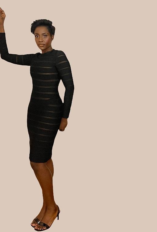 Black Striped Mesh Bandage Dress