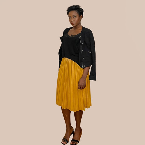 Yellow PU Leather Pleated Skirt
