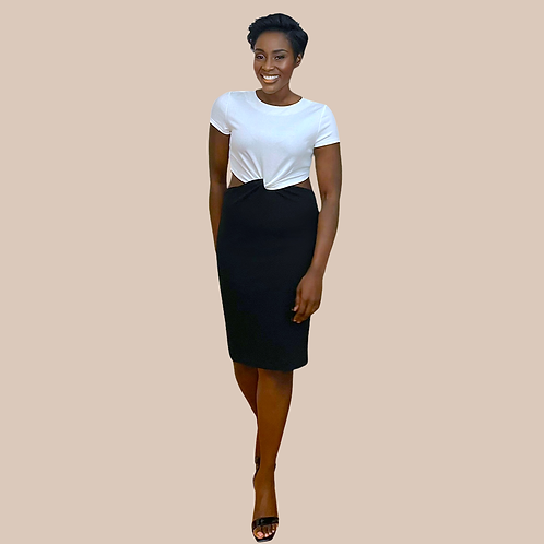 White and Black Knotted Midi Dress