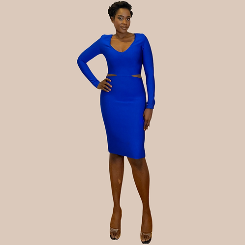 Blue Cut Out Midi Bandage Dress
