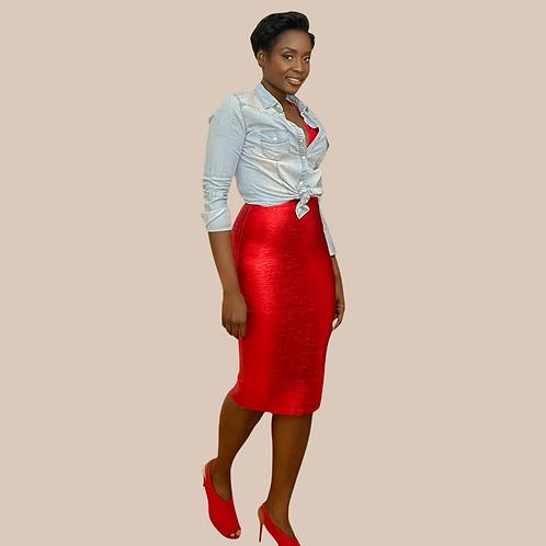 Red Metallic Pencil Bandage Skirt